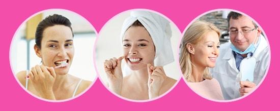 Good oral hygiene includes brushing, flossing, and regular dental visits.